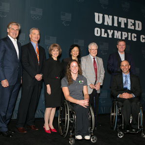Chancellor Wise and U.S. Olympic Committee chairman at press conference