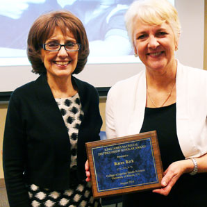 Dean Gallagher presents McCristal Award to Karen Kirk