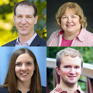 head shots of Dr. Charles Hillman, Carol Firkins, Tina Greenlee, and Jarrod Schuenemann
